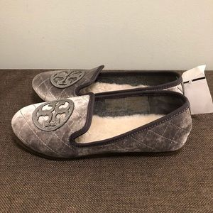 Tory Burch Gray Billy Velvet Quilted Slippers 5